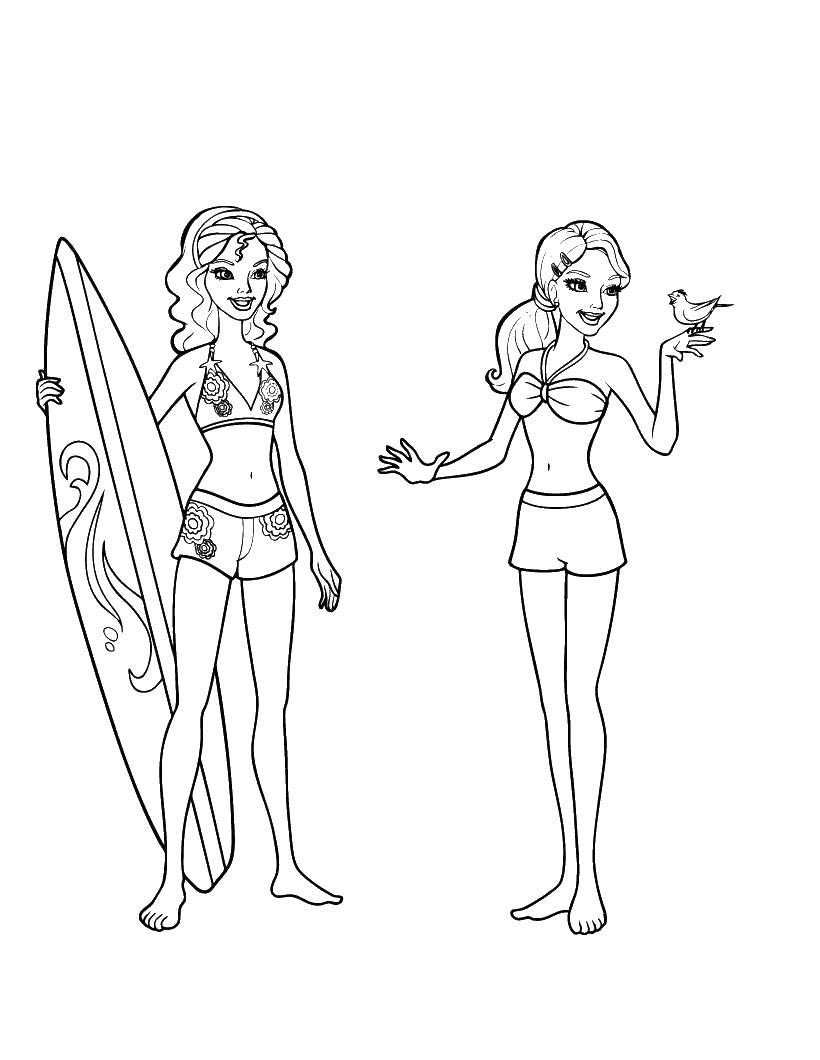 Девочки в море Раскраски для девочек скачать