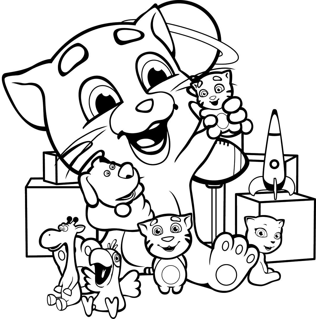 Джинджер играет с игрушками Раскраски с цветами распечатать бесплатно