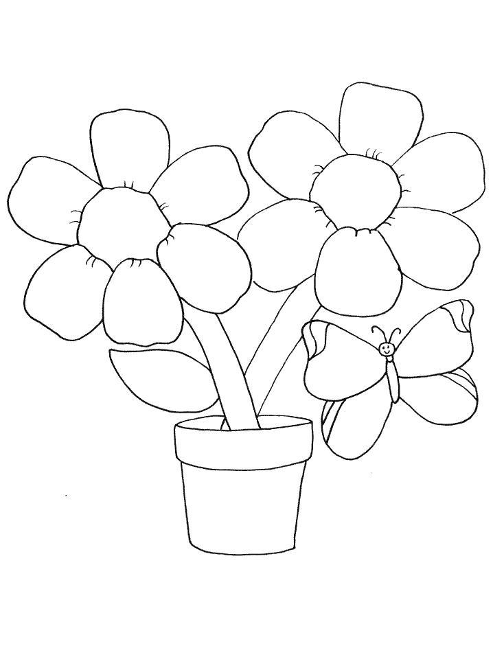Горшок цветов Раскраски для девочек распечатать