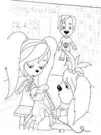 Барбоскины играют с куклой Раскраски для девочек распечатать