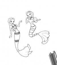 Подруги русалки Раскраски для девочек скачать
