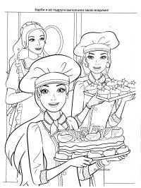 Барби делает пироги, кексы Раскраски для девочек онлайн