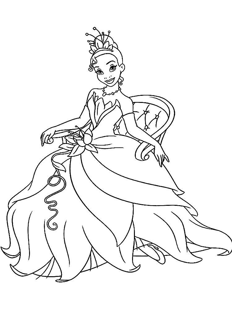 Принцесса в кресле Раскраски для девочек распечатать