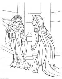 Рапунцель и ведьма Раскраски для девочек онлайн