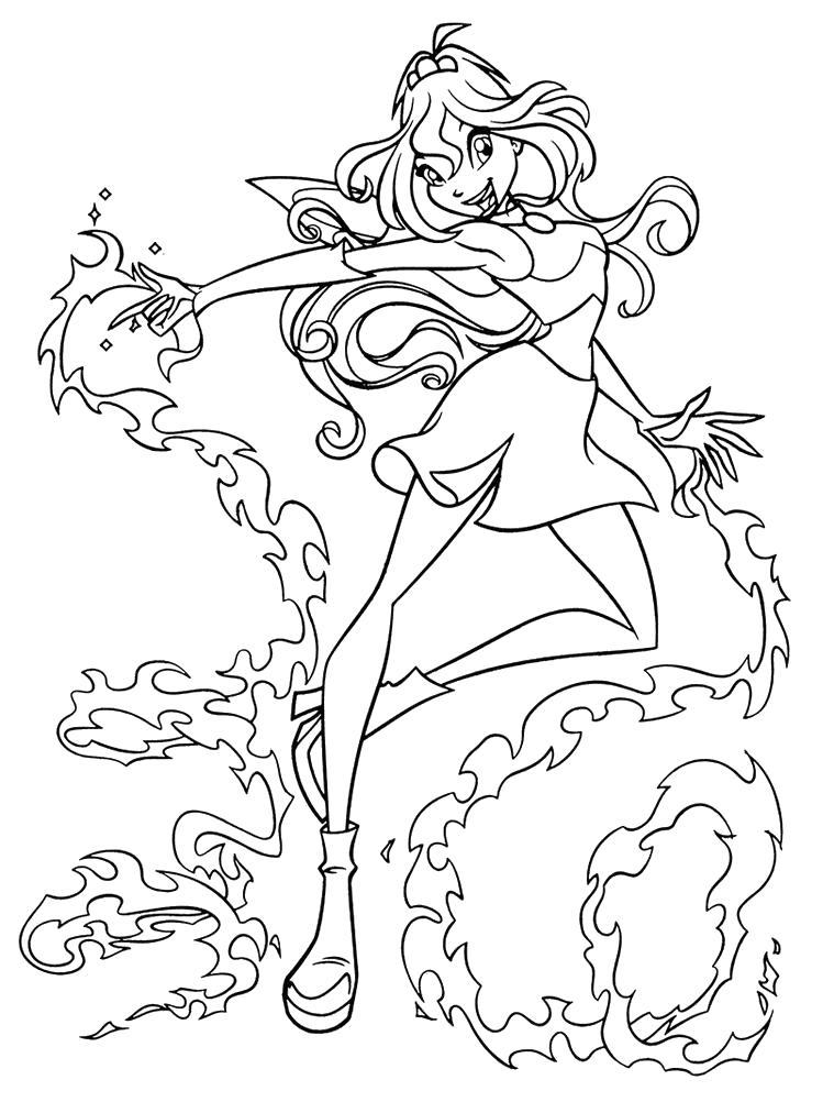 Блум огонь Раскраски цветочки для детей бесплатно