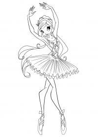 Блум занимается балетным танцем Раскраски цветочки для детей бесплатно