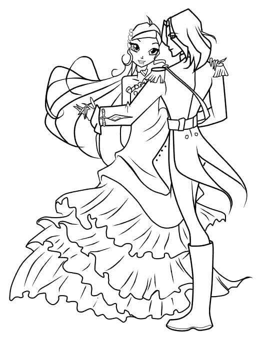 Блум танцует с парнем Раскраски цветочки для детей бесплатно