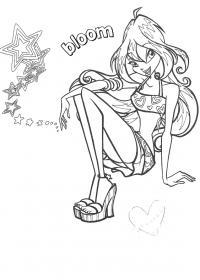 Блум звезда Раскраски цветочки для детей бесплатно