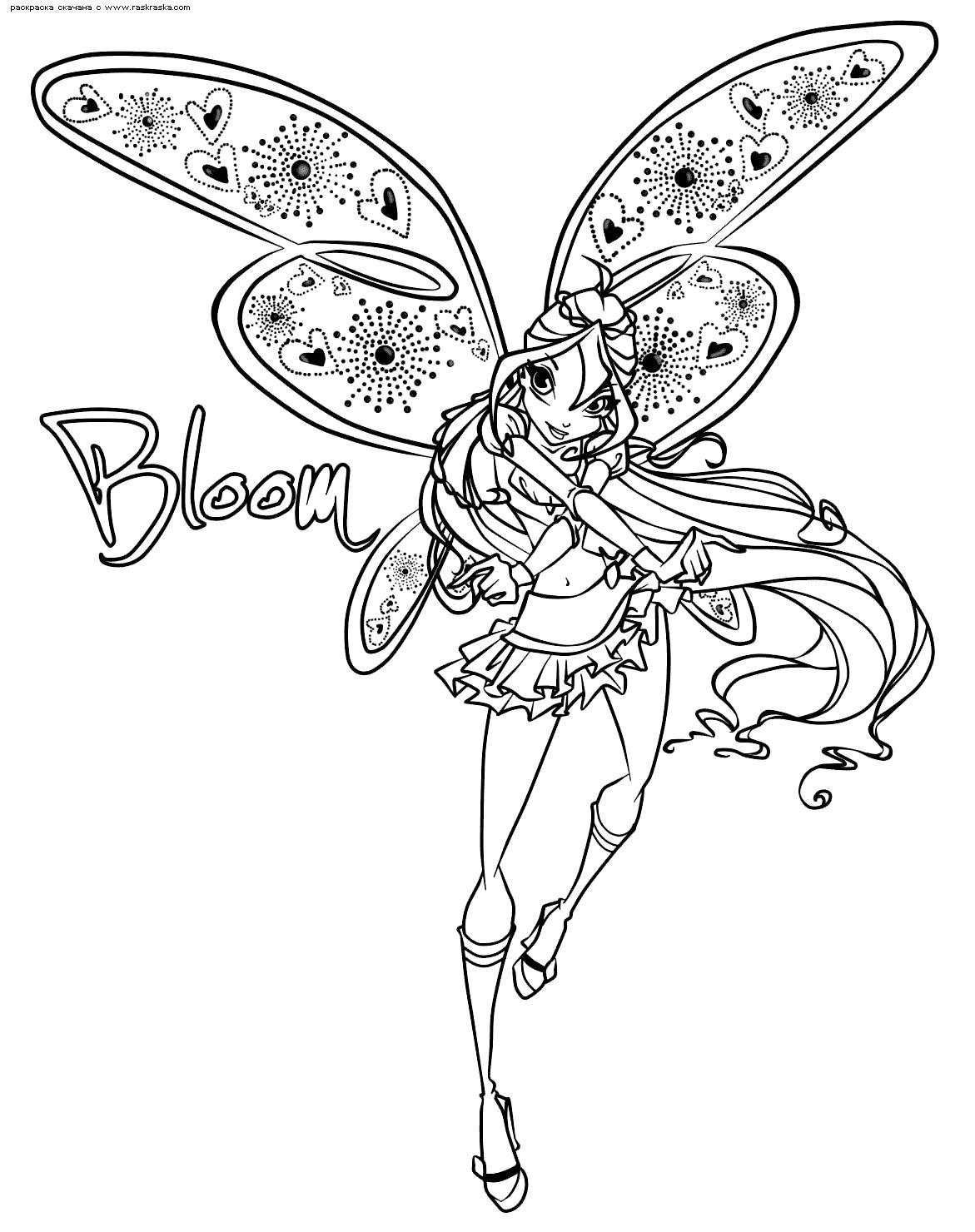 Раскраска блум Раскраски цветочки для детей бесплатно