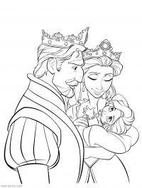 Король и королева Найти раскраски цветов