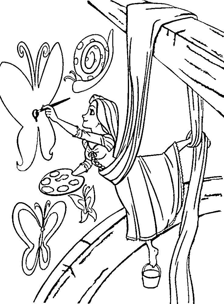 Рапунцель рисует стену Раскраски для девочек онлайн