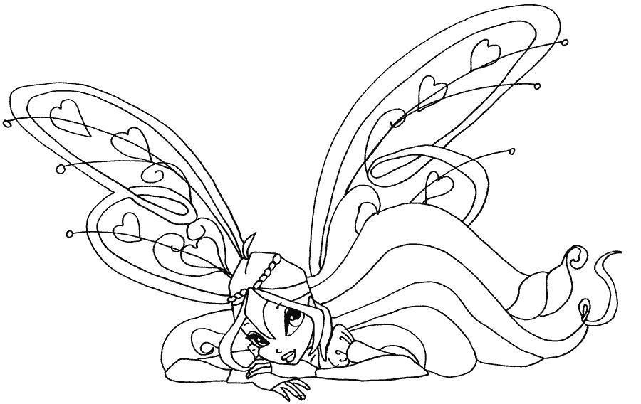 У блума крылья с сердечками Раскраски цветочки для детей бесплатно