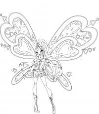 Блум с огромным крыльями Раскраски для девочек онлайн