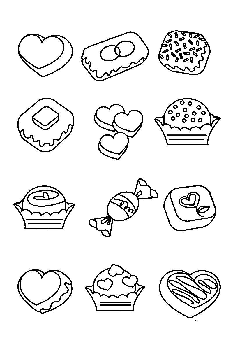 Сладости кексы, печенье Раскраски для девочек онлайн