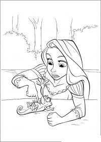 Рапунцель спасает хомельена Раскраски для девочек онлайн