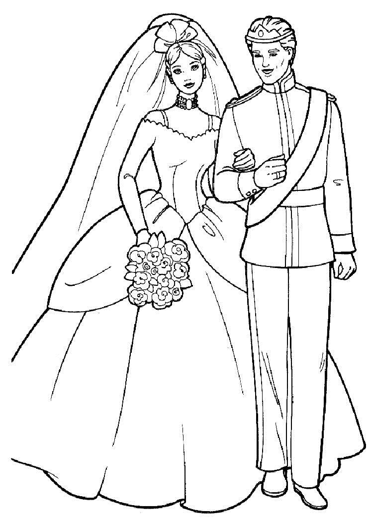 Распечатать раскраски с невестами