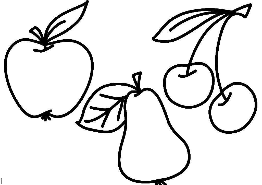 Фрукты, ягоды, яблоко, груша, вишня Раскраски для девочек распечатать