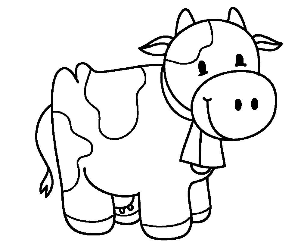Корова с колокольчиком Раскраски для девочек распечатать