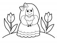Девочка с бантиком возле цветов Раскраски для девочек распечатать