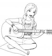 Барби с гитарой Раскраски для девочек бесплатно