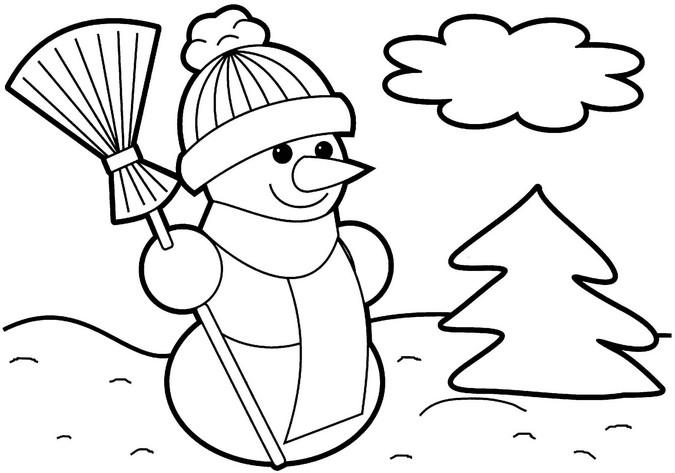 Снеговик в шапочке возле елочки Раскраски для девочек распечатать