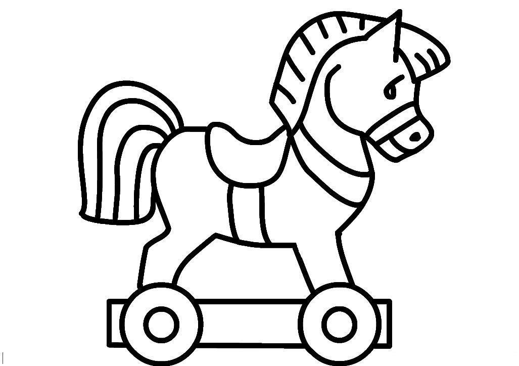Лошадка на колесиках Раскраски для девочек распечатать