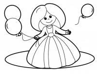Девочка с воздушными шарами Раскраски для девочек распечатать