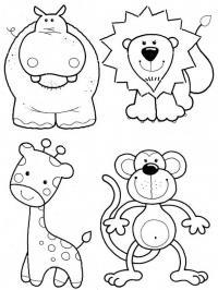 Бегемот, лев, жираф, обезьянка Раскраски для девочек распечатать