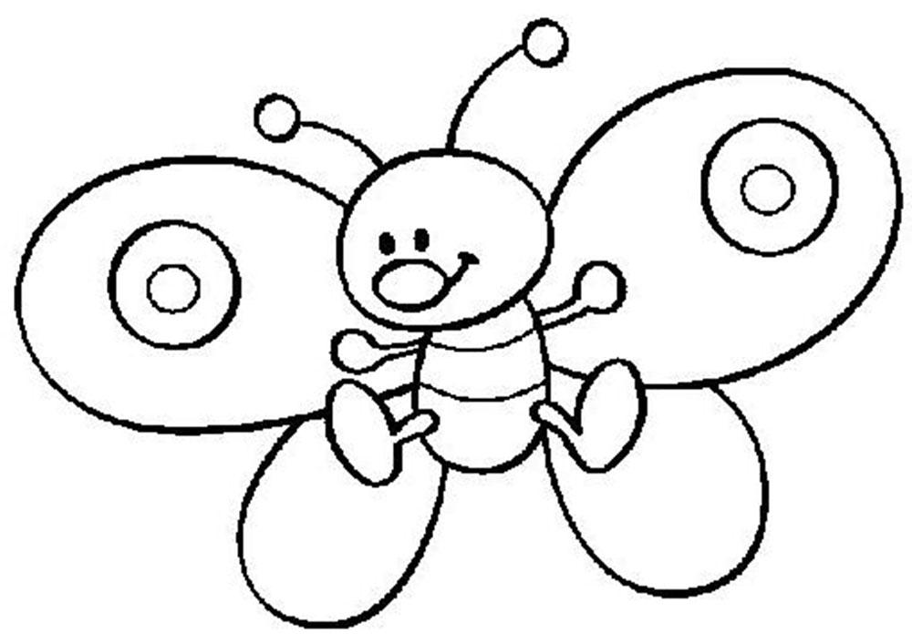 Веселая бабочка Раскраски для девочек распечатать