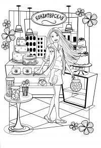 Барби в кондитерской Раскраски для девочек бесплатно