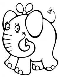 Слоник с бантиком Раскраски для девочек распечатать