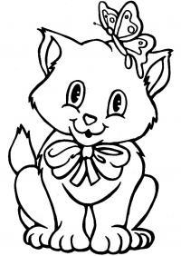 Котенок в бантике с бабочкой Раскраски для девочек распечатать