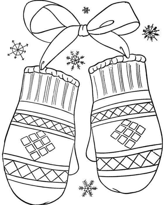 Варежки Раскраски цветы для девочек