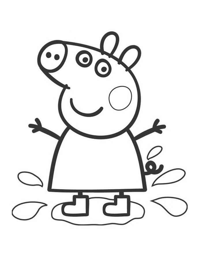 Свинка пеппа в луже Скачать новые раскраски цветы