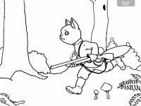 Кот с ружьем бежит по лесу Красивые раскраски цветов