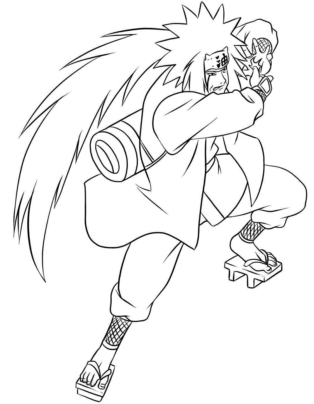 Джирайя из аниме наруто Раскраски с цветами распечатать бесплатно
