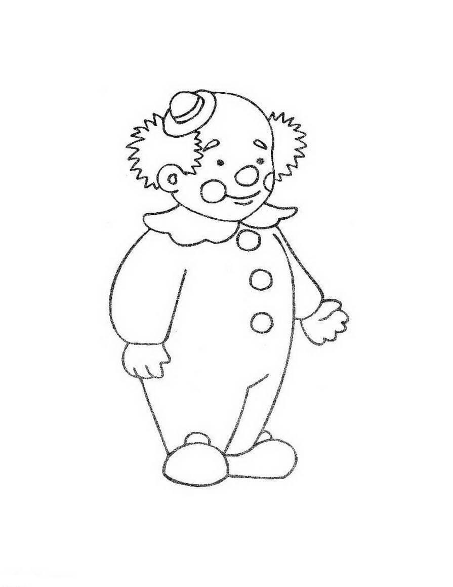 Клоун в маленькой шляпе Раскраски цветы для девочек