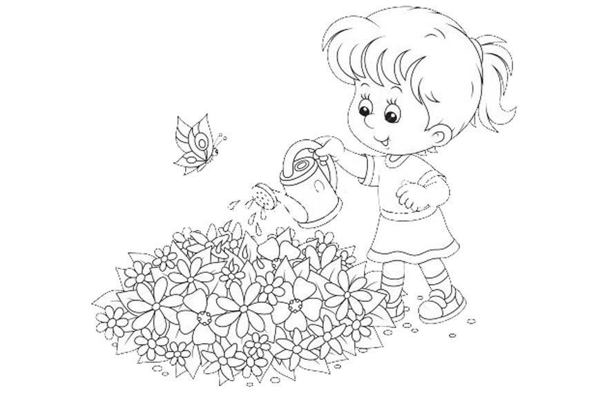 Раскраски девочка в цветах