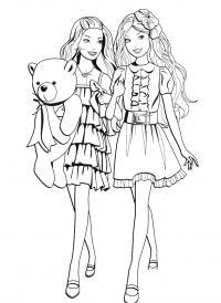 Барби с мишкой Раскраски для девочек бесплатно