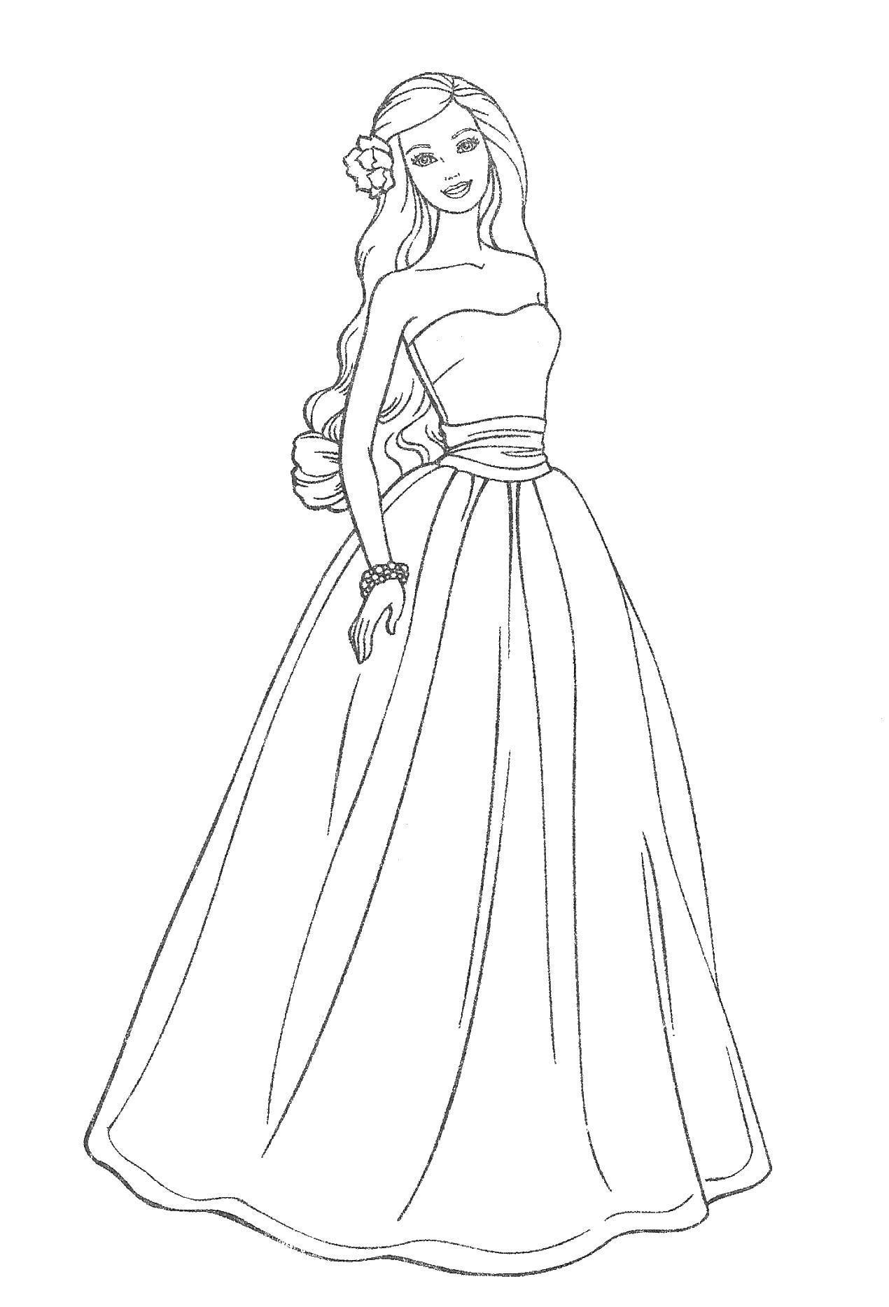 барби принцесса и поп звезда платье цветок волосы раскраска
