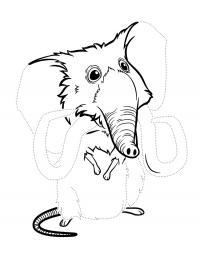 Семейка крудс, мамонтокрыс по точкам Раскраски цветы онлайн скачать и распечатать