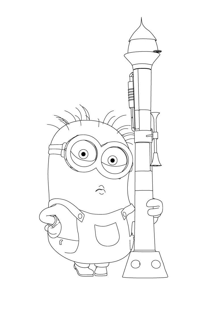 Миньон с ракетой Раскраски для девочек распечатать