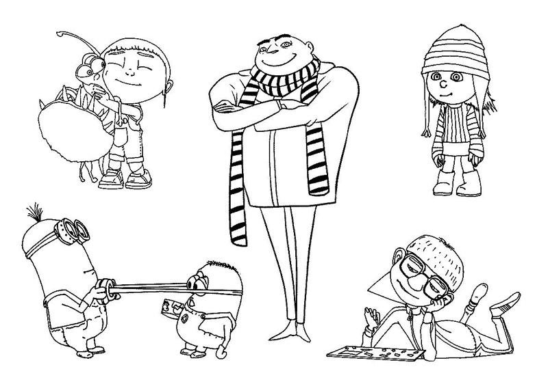 Персонажи мультфильма гадкий я Раскраски для девочек распечатать