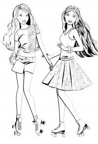 Барби с роликами Раскраски для девочек бесплатно