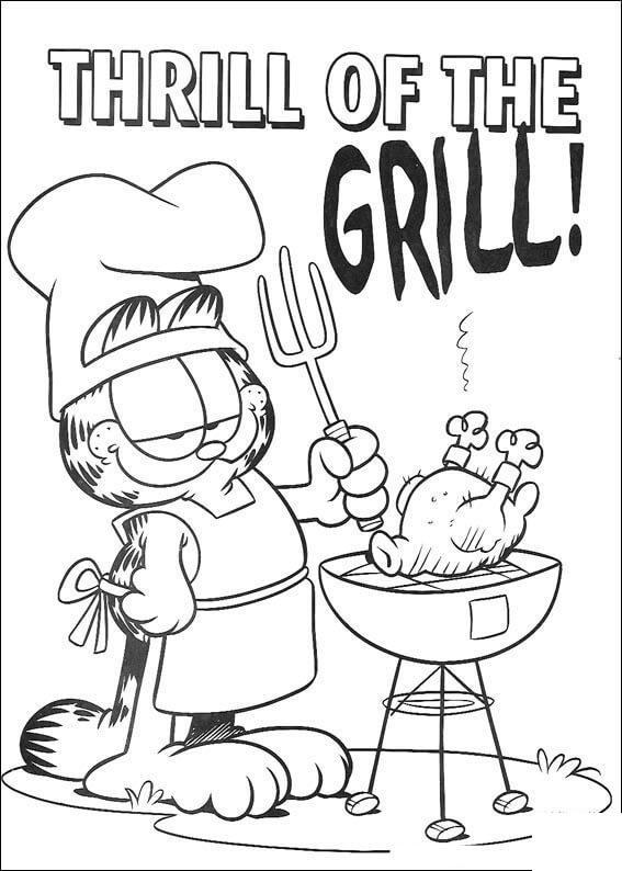 Гарфилд на барбекю Раскраски для девочек онлайн