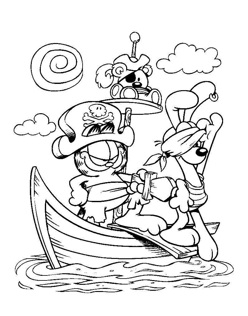 Гарфилд пират Раскраски для девочек онлайн