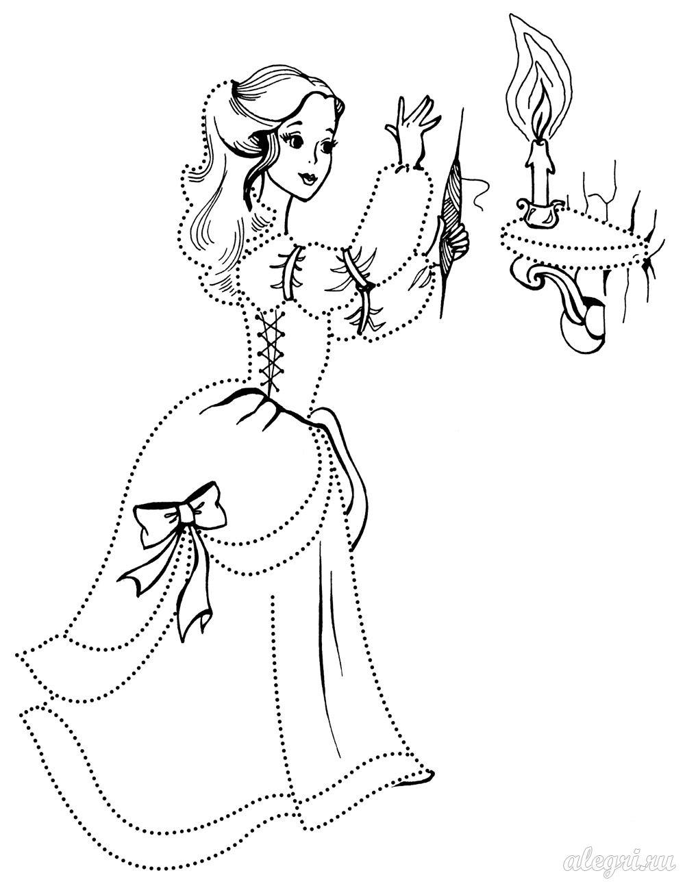 Принцесса зажигает свечу по точкам Цветы раскраски для детей