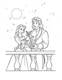 Принцесса и принц на балконе под луной Раскраски для девочек онлайн