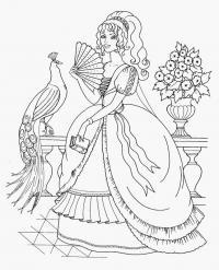 Принцесса на террасе и павлин, цветы Раскраски для девочек онлайн