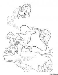 Русалка под водой цветы раскраски онлайн бесплатно